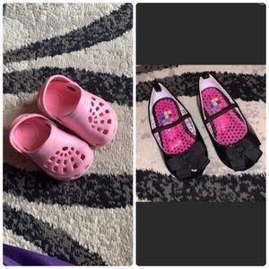 Infant baby girls 🌸 dress shoes and crocs bundle